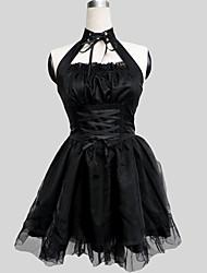 Einteilig/Kleid Gothik See Through Cosplay Lolita Kleider Schwarz einfarbig Ärmellos Knielänge Kleid Für Damen
