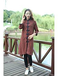 Feminino Reto Bainha Rendas Vestido, Para Noite Casual Simples Moda de Rua Sólido Colarinho Chinês Acima do Joelho Manga LongaVermelho