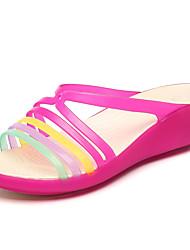 Feminino-Chinelos e flip-flops-Buraco Shoes-Anabela-Preto Marrom Roxo Vermelho Dourado-Couro Ecológico-Ar-Livre Casual