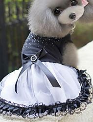 Cat Dog Dress Dog Clothes Summer Spring/Fall Princess Cute White/Black