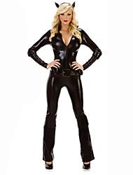 Costumes de Cosplay Cosplay Fête / Célébration Déguisement d'Halloween Noir Couleur Pleine Noël Féminin Cuir
