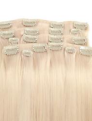9pcs / set deluxe 120g Clip in Haarverlängerungen Platium blonde 16inch 20inch 100% gerade menschliches Haar für Frauen