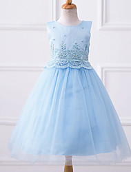 A-line Knee-length Flower Girl Dress - Chiffon Sleeveless Jewel with Appliques Beading Pearl Detailing