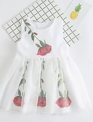 Girl's Beach Print Dress,Cotton Polyester Summer Sleeveless