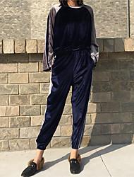 подписать в начале весны корейского бархата вышитые птицы боя ударили цвет полосу футболка + эластичный пояс и белые полосатые брюки