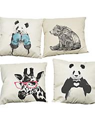 Set of 4 mascot animals pattern Linen Pillowcase Sofa Home Decor Cushion Cover
