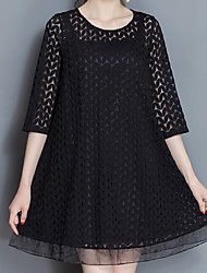 Plus Size Casual/Daily Work Sexy Simple Cute Loose Dress,Solid Round Neck Above Knee ¾ Sleeve Others Black Summer High Rise Micro-elastic