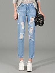 Spot 2017 spring Korean loose large size hole pantyhose jeans female harem pants College Wind