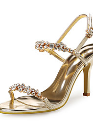 Women's Sandals Club Shoes Synthetic Glitter Wedding Party & Evening Dress Stiletto Heel Rhinestone Rose Gold