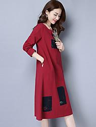 2017 весной новые женщины&# 39, S национальный ветер оригинальный патч хлопка с длинными рукавами длинное платье
