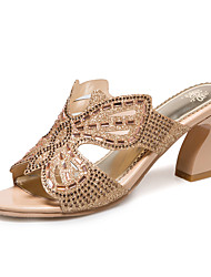 Women's Slippers & Flip-Flops Spring Summer Fall Synthetic Dress Casual Chunky Heel Rhinestone Gold Green