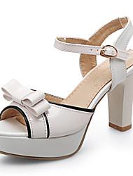 Damen-Sandalen-Kleid Lässig Party & Festivität-Kunstleder-Blockabsatz-Club-Schuhe-Blau Rosa Lila Weiß