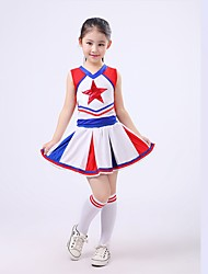 Cheerleader Costumes Outfits Children's Performance Spandex Draped 2 Pieces Sleeveless Top Skirt
