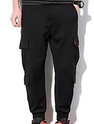 Masculino Reto Chinos Calças,Casual Simples Listrado Cintura Média Zíper Algodão Micro-Elástico Com Molas