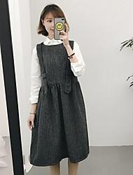 oportunidad real! 2017 primavera nueva versión coreana del vestido del chaleco de la cintura de lana suelta retro