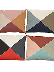 Set of 4 Geometric triangles  pattern Linen Pillowcase Sofa Home Decor Cushion Cover