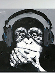 Hand Painted Listen Music Gorilla Canvas Oil Paintings Black White Wall Art Animal Oil Painting for Home Decor Monkey Painting With Frame