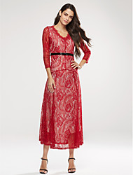 Women's Lace Pink / Red / White / Black Dress , Casual V Neck Long Sleeve