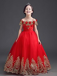 Ball Gown Floor-length Flower Girl Dress - Stretch Satin Short Sleeve Off-the-shoulder with Embroidery Flower(s)