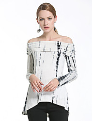 Women's Casual/Daily Street chic Spring Fall Shirt,Jacquard Round Neck Long Sleeve Blue Pink Black Polyester Translucent