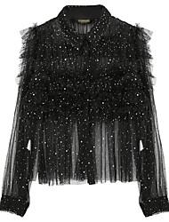 Feminino Malha Íntima Casual SimplesEstampado Poliéster Colarinho de Camisa Manga Longa
