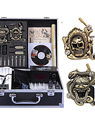 Complete Tattoo Kit 2 carved machine liner & shader 2 Tattoo Machines LCD power supply Inks Shipped Separately