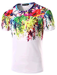 Men's Sports Formal Going out Casual/Daily Simple Active Summer T-shirt,Print Rainbow Round Neck Short Sleeve Cotton Medium
