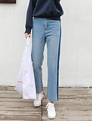 registe lavagens piscar calça jeans de cintura meia-calça feminina cor hit finas casuais jeans reta
