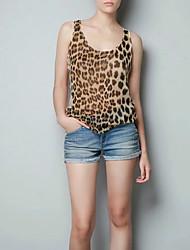 Damen Leopard Einfach Street Schick Ausgehen Lässig/Alltäglich Tank Tops,Gurt Frühling Herbst Ärmellos Seide Baumwolle Mittel