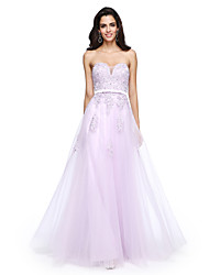 A-Line Sweetheart Floor Length Tulle Formal Evening Dress with Beading Appliques Sash / Ribbon by TS Couture®