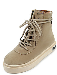 Women's Flats Combat Boots PU Spring Casual Combat Boots Lace-up Flat Heel Black Blushing Pink Khaki Flat