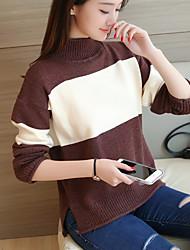# 4143 зима новых корейских женщин вязание в половине разделенного шарика цвета отворот пуловер