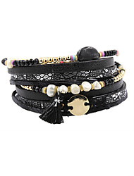 Fashion Women Trendy 4 Rows Irregular Pearl Crystal Glass Beads Wrap Bracelet