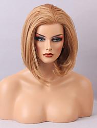 melhor valor dianteira do laço peruca meio de cabelo humano em linha reta sem franja bob de cabelo resistente ao calor penteado