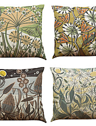 Set of 4 European plants pattern  Linen Pillowcase Sofa Home Decor Cushion Cover