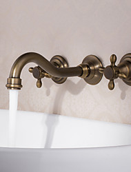Antique Wall Mounted Widespread with  Ceramic Valve Two Handles Three Holes for  Antique Copper , Bathroom Sink Faucet