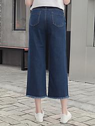 подписать 2017 весной новый корейской версии сыпучих талии широкие джинсы ноги прямые бахромой края женских колготок