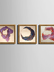 E-HOME® Framed Canvas Art Line Winding Color Stone Framed Canvas Print One Pcs