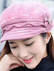 Women 's Winter Flower Pure Color Rabbit Fur Outdoor Warm Lady Berets Cap