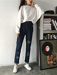 Sign Korean tidal Slim was thin pants pants feet patch frayed pants autumn new models