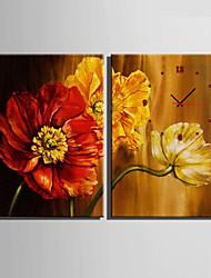 Moderne/Contemporain Fleurs / Botaniques Horloge murale,Rectangulaire Toile35X50cm(14inchx20inch)x2pcs/ 40 x 60cm(16inchx24inch)x2pcs/ 50