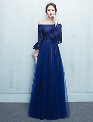 Formal Evening Dress A-line Off-the-shoulder Floor-length Tulle with Bow(s) Lace