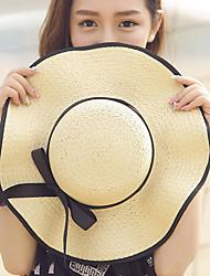 Women Bowknot Wave Edge Dome Summer Beach Sunscreen Outdoor Bowknot Ribbon Straw Hat