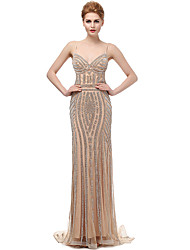 Formal Evening Dress Trumpet / Mermaid Spaghetti Straps Sweep / Brush Train Tulle with Beading