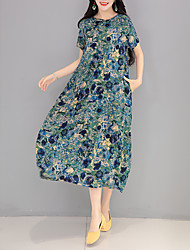 Spot real shot 2017 national wind women's plate buttons silk dress loose big yards short sleeve dress
