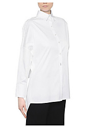 Women's Going out Simple Shirt,Solid Stand Long Sleeve Cotton