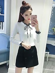 Zeichen Frühjahr neue koreanische langärmeligen Pullover weibliche Hornhülse Strickhemd Rundhals-T-Shirt