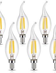 4W E12 Ampoules à Filament LED CA35 4 COB 400 lm Blanc Chaud Blanc Froid Gradable Décorative 110-120 V 6 pièces
