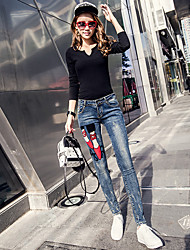 The new spring models stretch denim trousers female personality pattern knit low-waist tight stretch pants feet of thin significantly