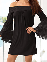 Casual/Daily Street chic Sheath Chiffon Dress,Solid Lace Boat Neck Mini Long Sleeve Flare Sleeve Polyester Black Summer Mid Rise